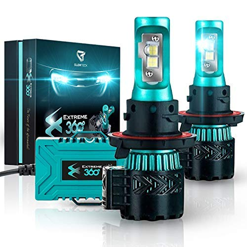 Glowteck H13/9008 LED Headlight Bulbs Conversion Kit - Cree XHP50 Chip 12000 Lumens/Pair 68 Watt 6500 Kelvin