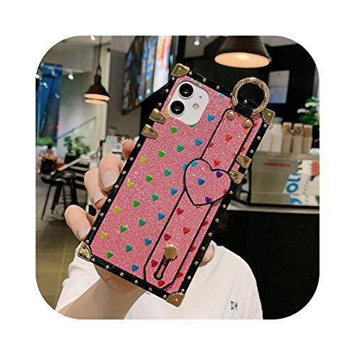 Bling Square Love Heart - Funda para iPhone 12 PRO MAX para iPhone 11 Pro Max X XS Max XR 6 6S 7 8 Plus Soft Phone Cover - Rosa