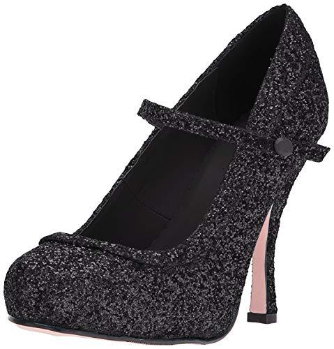 Ellie Shoes Women's 423-Candy Glitter Maryjane Platform Pump, Black, 11 US/11 M US