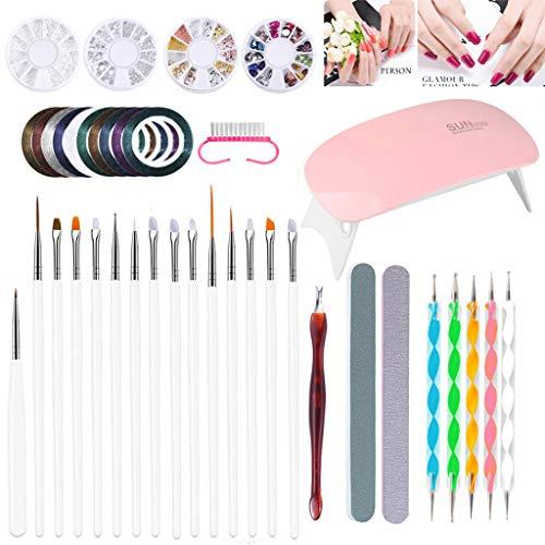 38Pcs Nail Art Brushes Profesional Set,Con LED UV Lámpara,15 Pinceles para Uñas,Cintas...