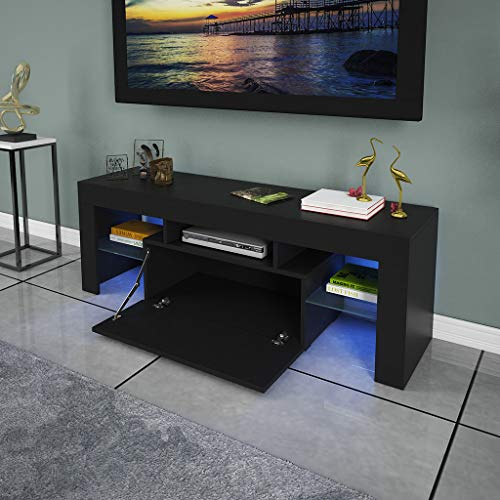 US Fast Shipment Modern TV Stand w/High-Gloss LED Lights w/Tempered Glass Base - High-end Luxury TV Console w/Storage Shelf, Media Entertainment Center Wooden TV Cabinet for Living Room (Black)