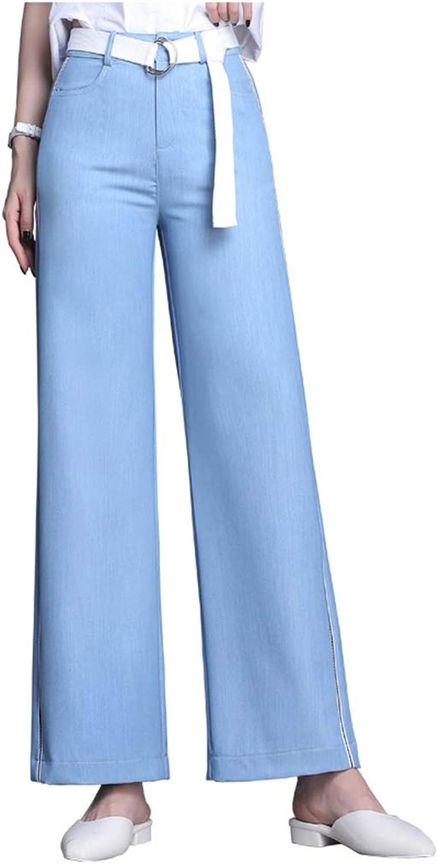 Tencel Jeans Female New Drape Ice Silk Wide Leg Pants High Waist Loose Nine Points Straight Pants Hanging Korean Version of The New Pants Length 93cm (color   bluee, Size   28 L)