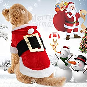 Idepet Costume de Père Noël Chien, vêtements en Coton Animal de Compagnie, Manteau à Capuche d'hiver, vêtements Chien Animaux de Compagnie vêtement Chihuahua Yorkshire Caniche