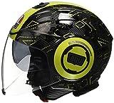 AGV Casco Moto Fluid E2205 Top, Ibiscus Gunmetal/Yellow, XS