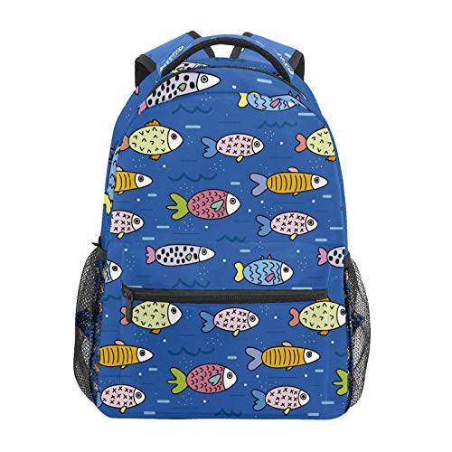 School Backpack Sea Fish Blue Submarine Animals Casual Travel Laptop Daypack Canvas Book Bags for Woman Girls Boys Student Adult Men