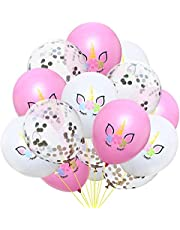 SooFam 15 Pcs/Set Unicorn Balloons Cute Colorful Latex Balloons Baloon Unicorn Party Decoration Balloons Birthday Party Decor Kids Favors