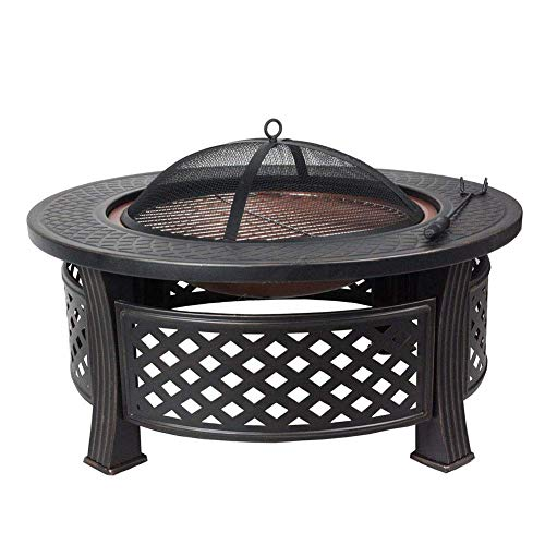 Parrilla de barbacoa pequeña hoguera, hoguera con estante para parrilla de barbacoa, cuencos de fuego para mesa redonda de jardín para colocar bebidas y suministros para asar