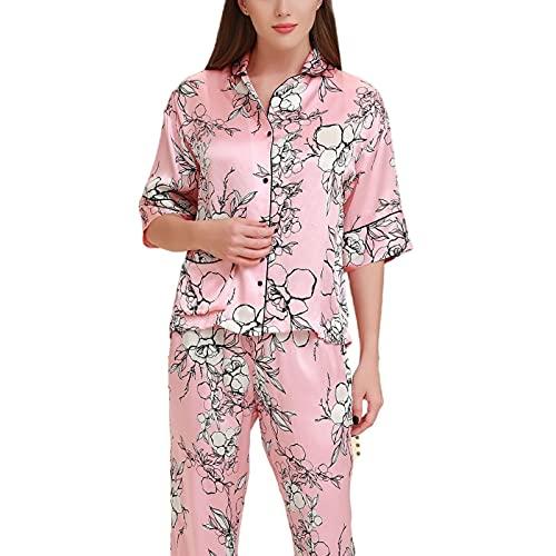 JYCDD Pijama de Seda de Mora con Estampado de Flores Grandes Pantalones de Manga Media Conjunto de Pijama,Rosado,XL
