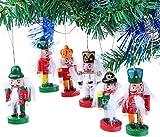 Brubaker 6-teiliges Set Nussknacker Holzanhänger - Baumschmuck für den Weihnachtsbaum -...