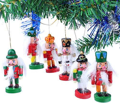 Brubaker 6-teiliges Set Nussknacker Holzanhänger - Baumschmuck für den Weihnachtsbaum - Weihnachtsanhänger Christbaumschmuck aus Holz - Handbemalt