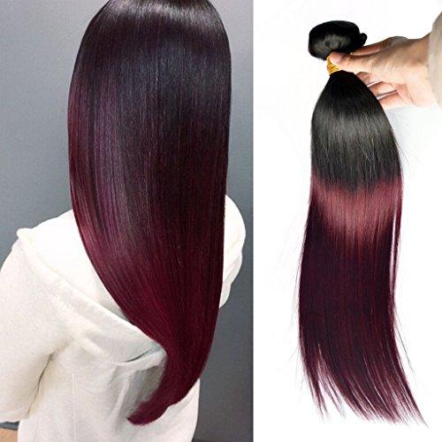 Greemeo Lisse Brésilien Cheveux Tissage 100% Réel Cheveux Humains Extension Sleek Straight 100 Grammes 1 Bundle Pack (18 Pouces, 1B/99J Noir à rouge)