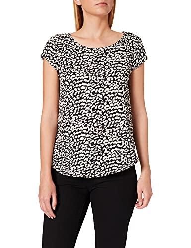 Only ONLVIC SS Top Noos WVN Camiseta, Negro/AOP: Leopardo, 34 para Mujer