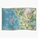 FONSEC Map The Sword Poster of Coast, Impressive Posters for Room Decoration Printed with The Latest Modern Technology on semi-Glossy Paper Background