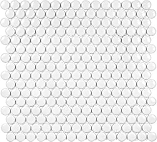 10 Sq Ft Box - 3/4 Inch White Glazed Porcelain Penny Round Mosaic Tiles