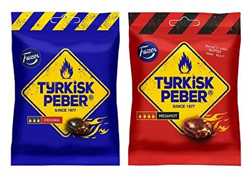 Fazer Tyrkisk Peber Original + Mega Hot – Finlandés salado de regaliz salmiak salmiakki bolsa de caramelos de pimienta dura 120 g, paquete de 2