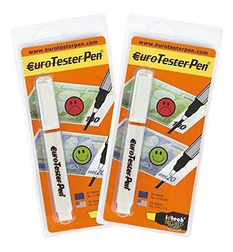 EURO TESTER PEN XL - Detector de Billetes Falsos (Fórmula Patentada) 2 Detectores - Descuento 30% Funciona con Todas las Principales Divisas (Made in Italy)