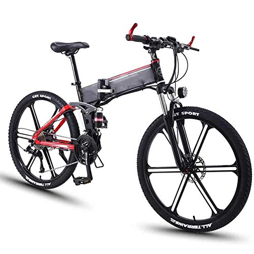 FDGBCF Easy to carry Adult Electric Mountain Bike, 26 Inch Aluminum Alloy Foldable Bike 350w 36V / 8Ah Lithium Battery Electric Bicycle 27 Speed Power Bike