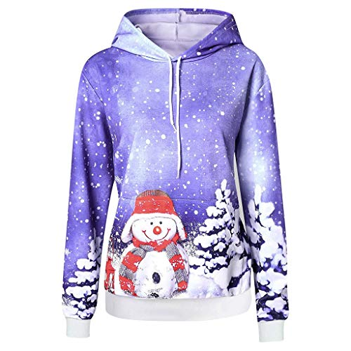 TWIFER Weihnachten Kapuzenpullover Damen Langarm Weihnachtspullover Schneemann Drücken Hoodie Christmas Sweatshirt Kapuzen Oberteil Weihnachtspulli(a-Lila,XL)