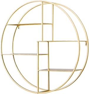 フローティングシェルフ フローティングシェルフ 壁 メタル 吊り下げ 装飾フローティングシェルフ ホーム オフィス ストレージディスプレイラック (円形) ゴールド HQSB-1210