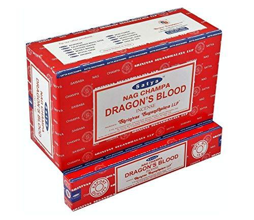 DRAGON'S BLOOD von Satya LLP 12x 15g BIG PACK Aroma Nag Champa Incense