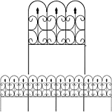 Amagabeli Decorative Garden Fence 32inx10ft Outdoor Coated Metal Rustproof Landscape Wrought Iron Wire Border Folding Patio Flower Bed Barrier Section Edging Black FC03,24 inch panels (pack of 5)