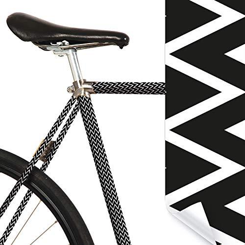 MOOXIBIKE Ziggy Zac schwarz weiß Mini Fahrradfolie mit Muster für Rennrad, MTB, Trekkingrad, Fixie, Hollandrad, Citybike, Scooter, Rollator für circa 13 cm Rahmenumfang