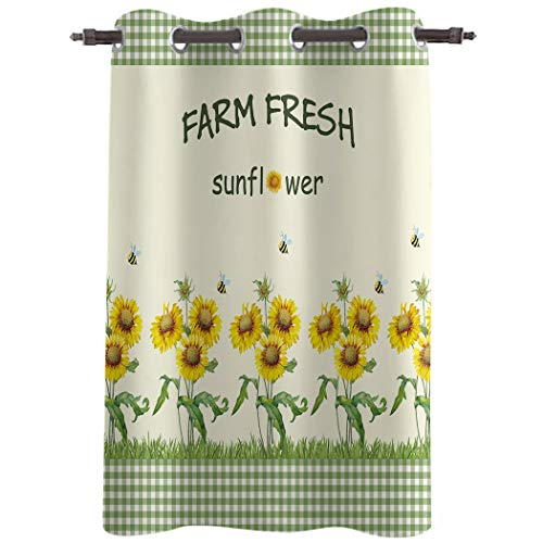 WARM TOUR Window Curtain Panel Farm Floral Sunflowers Vintage Green Plaid Printing Decor Durable Drapes for Bedroom Kitchen Living Room Farm Country Theme 52×90Inch