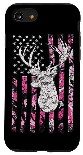 iPhone SE (2020) / 7 / 8 Pink Camo American Flag Deer Hunter Women's Hunting Case