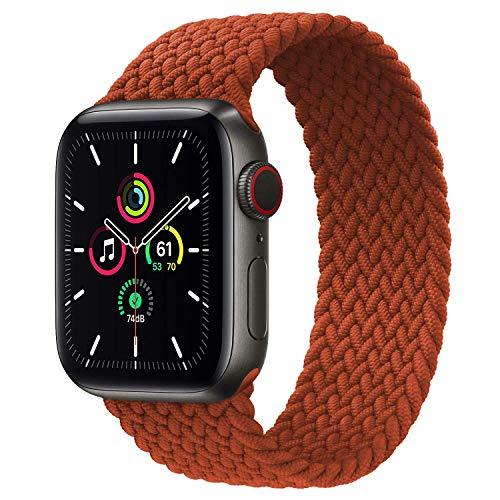 Leishouer Braided Solo Loop Compatible con Apple Watch Correa 38mm 40mm 42mm 44mm Nailon Pulsera Repuesto, Correas Trenzada Elástica para iWatch Serie 6/SE/5/4/3/2,42mm/44mm-M Rojo Oscuro