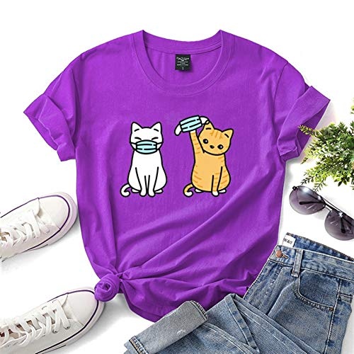 LXHcool 2020 Coron_avirus I Surviving T-Shirt Cov_id 19 Funny Cat Wearing a mask T-Shirt (Color : Purple, Size : X-Large)