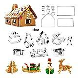 Tree-es-Life Juego de cortadores de Galletas de Navidad 3D de 18 Piezas, Juego de cortadores de Galletas de Vacaciones, Juego de cortadores de Galletas para niños, Fiesta de Navidad, Plata