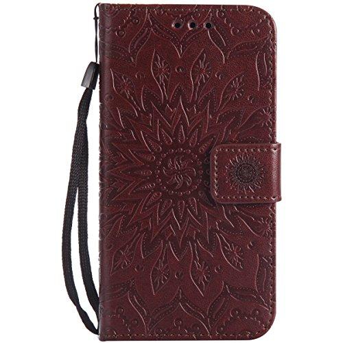 Ysimee Coque Nokia N650, Étui Portefeuille Magnétique en Cuir Fleur en Relief Folio Housse Con Antichoc TPU Bumper Poche de Cartes Fonction Support Coque à Rabat pour Nokia N650,Marron