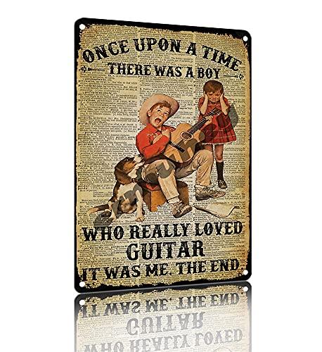 ERMUHEY Cartel de lata con texto en inglés 'A Boy Loves' para guitarra, decoración del hogar, bar, colgar en la pared, dormitorio, sala de estar, cocina, baño, estaño de 30 x 20 cm