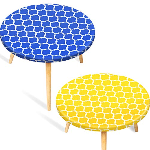 2 Pieces Vinyl Round Tablecloth Fitted Elastic Flannel Table Cover Waterproof Edged Table Protector Flannel Backed Tablecloth, Moroccan Style, Yellow and Blue (Medium 40-44 Inch)