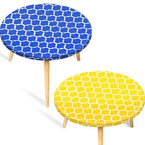 2 Piezas de Mantel Redondo de Vinilo Cubierta de Mesa de Franela Elástica Ajustada Protector de Mesa con Bordes Impermeable, Estilo Marroquí (Medio 40-44 Pulgadas, Amarillo y Azul)