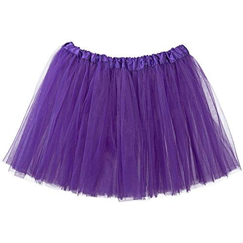 My Lello Adult Tutu Skirt, Classic Elastic 3 Layer Tulle Tutu for Women and Teens - Purple