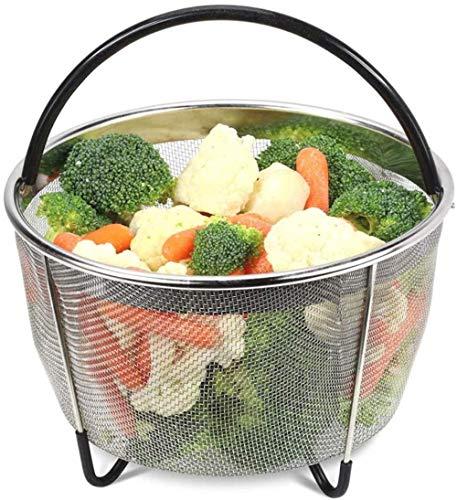 Roestvrij stalen korf, 304 roestvrij staal drain korf geschikt for snelle steamer met het wassen van groenten, het wassen van fruit, zet gestoomde rijst fornuis, 6QT, Kleur: 8QT