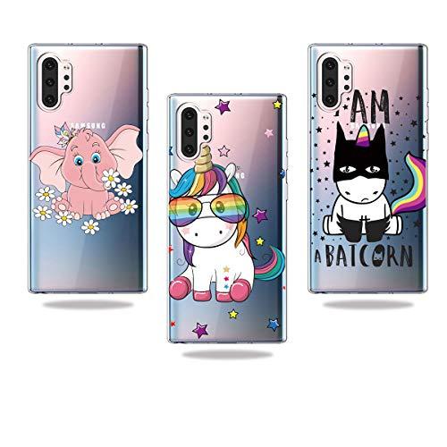 DiaryTown 3 Piezas Fundas para Samsung Galaxy Note 10 Plus/Pro Silicona Blando Carcasa Cover Transparente Dibujos Funda Resistente TPUUltrafina Antigolpes Case Elefante Rosa Unicornio Negro