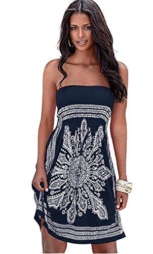 Vestido de Playa para Mujer, Verano Sin Tirantes de Hombro Mujer Bohemia Falda Casual Estampado Floral Colorido Mini Vestidos