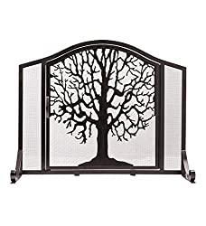 small Plow  Hearth Small Tree of Life Metal chimney screen, single wing door, self-supporting …