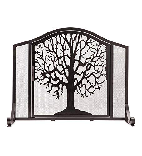 Plow & Hearth Small Tree of Life Metal Fireplace Screen with Single Hinged Door, Free Standing Spark Guard, 38 W x 31 H x 11.5 D, Black and Gold Flecked