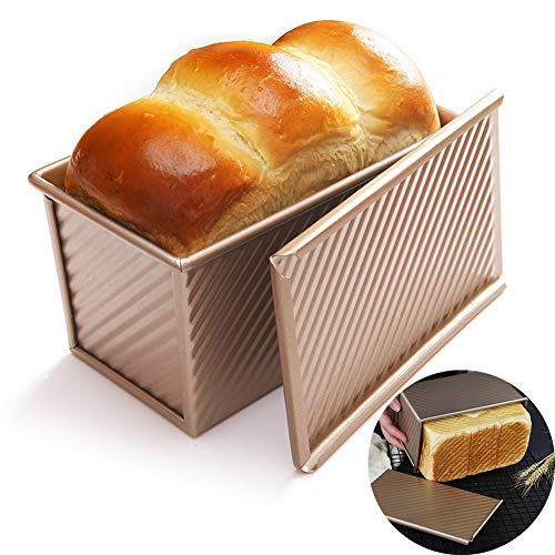WAQIA Loaf Pan with Lid Non-Stick Bakeware Carbon Steel Bread Toast Mold with Cover for Baking Bread