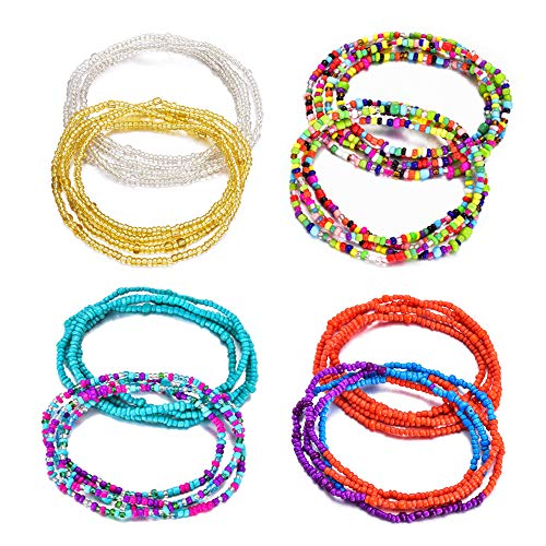 KOHOTA Beads Waist Set for Women African Beaded Body Chain Waist Belly Chain Stretchy Elastic String Multi-Color Necklace Bracelet Anklet Sexy Bikini Summer Jewelry