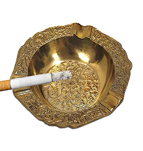 Luxury Ashtray Metal Outdoor Cigarette Ashtray for Patio Home Table Modern Ashtrays Creative Living Room KTV Furnishing Articles Gift for Father's Day (C1 Bronze)