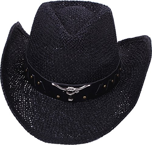 Simplicity Men / Women's Summer Woven Straw Cowboy Hat, 2042_Black
