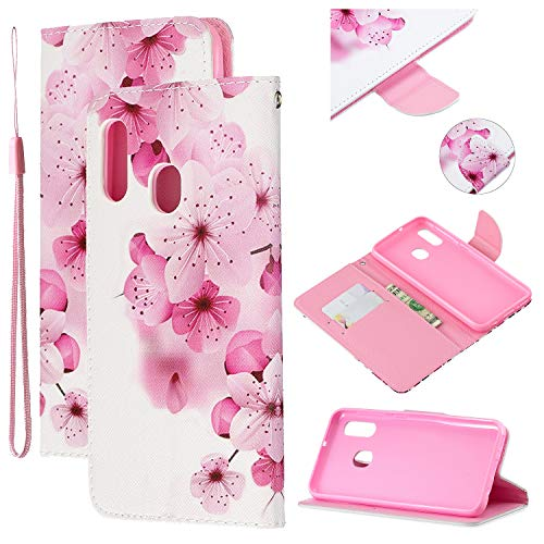 Amocase Strap Leather Case with 2 in 1 Stylus for Samsung Galaxy A20E,Colorful Printed Premium Wallet PU Leather Stand Shockproof Card Slot Case for Samsung Galaxy A20E - Beautiful Peach Blossom