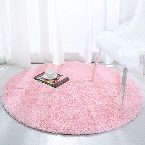 Softlife Fluffy Soft Round Bedroom Rugs 4 x 4 Feet Shaggy Circle Area Rug for Girls Boys Kids Room Nursery Princess Castle Living Room Home Decor Circular Floor Carpet, Pink