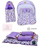 Material: Cotton, Washable & Reusable, Size: 0-6 Months Pack Contains: 1 Mattress With Net | 1 Sleeping Bag Cum Carry Bag | 4 Pcs Bedding Set (L-28Inchs, B- 19 Inchs) Contains Same Color & Print Baby Bedding Set From Direct Factory To Your Doorstep H...