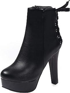 FANIMILA Women Fashion Platform Boots Party High Heels Zip