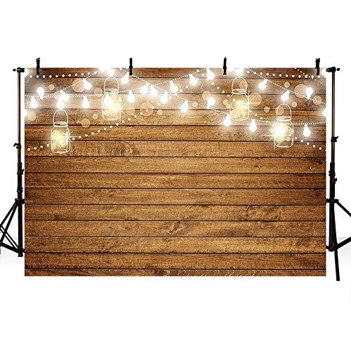 MEHOFOTO Fondo para fotografía con bombillas brillantes de madera, para cumpleaños, bodas, fiestas, decoración de estudio fotográfico, carteles de fondo de cabina de 7 x 5 pies